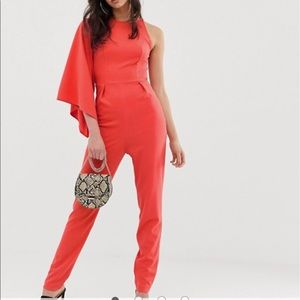 Orange/coral jumpsuit with sleeve detail